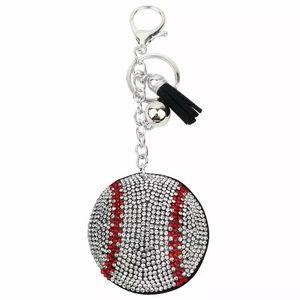 Crystal Baseball Keychain with a Black Tassel